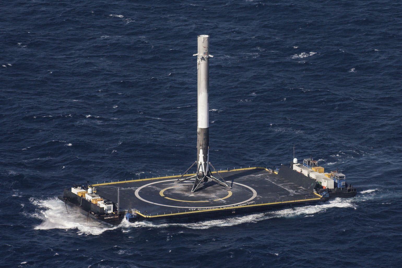 Falcon 9, on a boat